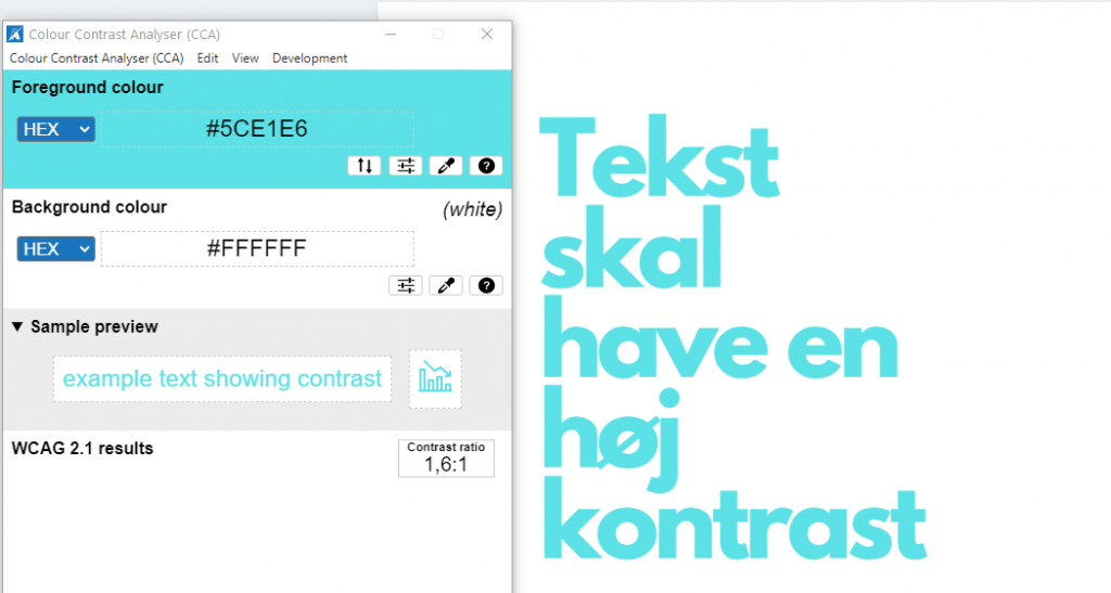 Example of text with a low contrast ratio.